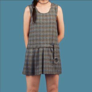 UNIF Plaid Drop Waist Dress Grunge Retro Mini